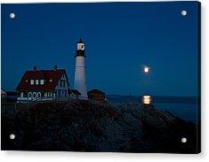 Moonrise At Portland Head Acrylic Print