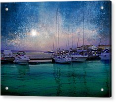 Moonrise At The Bay In Kukljica Croatia Acrylic Print