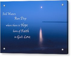Moonrise On Lake Superior With Quote Acrylic Print