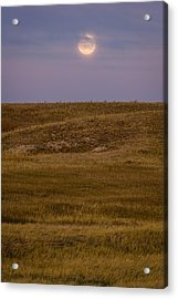 Moonrise Over Badlands South Dakota Acrylic Print by Steve Gadomski