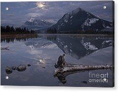 Moonrise Over Banff Acrylic Print by Keith Kapple