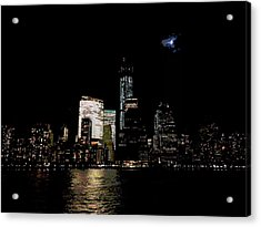 Moonrise Over Freedom Tower Acrylic Print by Lewis Mengersen