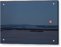 Moonrise Over Penobscot Bay And Acadia National Park From Camden Hills Acrylic Print by John Burk