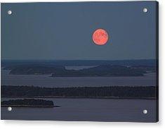 Moonrise Over Penobscot Bay From Camden Hills Acrylic Print by John Burk