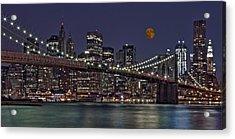 Moonrise Over The Brooklyn Bridge Acrylic Print