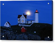 Moonrise Over The Nubble Lighthouse Acrylic Print