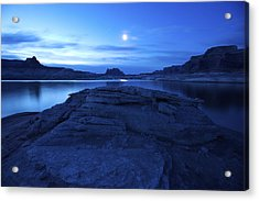 Moonrise Over West Canyon And Lake Acrylic Print by Michael Melford