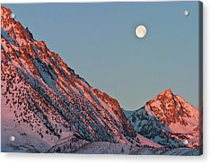 Moonset From The Buttermilks Acrylic Print by Donald E. Hall