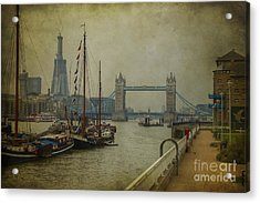 Acrylic Print featuring the photograph Moored Thames Barges. by Clare Bambers