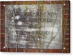 Mooresville - Belle Mina Junior High School 1967 Acrylic Print by Kathy Clark