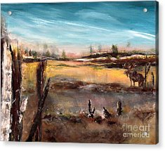 Acrylic Print featuring the painting Moose Landscape by France Laliberte