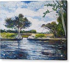 Mopani Bridge Maun Botswana Acrylic Print by Enver Larney