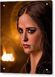 Morgan Pendragon Eva Green Acrylic Print by Jennifer Hickey