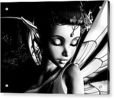Morning Fairy Bw Acrylic Print by Alexander Butler