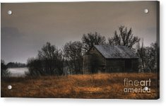 Acrylic Print featuring the photograph Morning Fog At Jorgens Barn by Trey Foerster