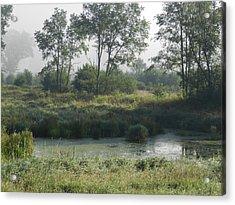Morning Mist On Marsh Acrylic Print by Dennis Leatherman