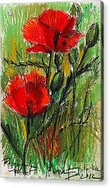 Morning Poppies Acrylic Print by Mona Edulesco