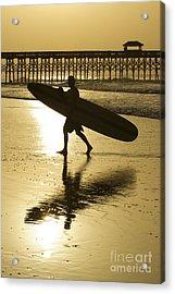 Morning Session Longboard Surfing Folly Beach Sc  Acrylic Print by Dustin K Ryan