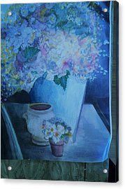 Morning Table With Bouquet And Cups Acrylic Print by Anne-Elizabeth Whiteway