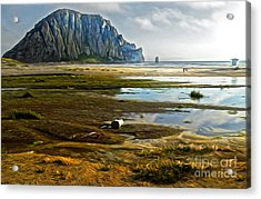 Morro Bay - Morro Rock Acrylic Print by Gregory Dyer