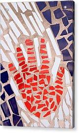 Mosaic Red Hand Acrylic Print by Carol Leigh