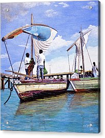 Acrylic Print featuring the painting Mosambique Fishermen by Stuart B Yaeger