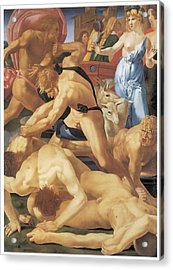 Moses And The Daughters Of Jethro Acrylic Print by Rosso Fiorentino