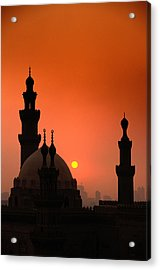 Mosques And Sunset In Cairo, Egypt Acrylic Print by Glen Allison
