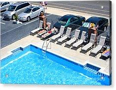 Motel Pool And Surroundings Acrylic Print by Susan Stevenson