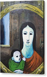 Mother And A Child In The Mirror Acrylic Print by Kazuya Akimoto