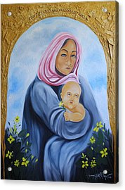 Mother And Child With Yellow Flowers Acrylic Print by Johnny Otilano