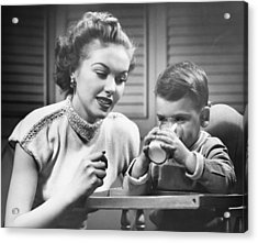 Mother Assisting Son (2-3) Drinking Milk, (b&w) Acrylic Print by George Marks