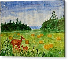 Acrylic Print featuring the painting Mother Deer And Kids by Sonali Gangane