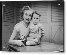 Mother Embracing Son (2-3) Indoors, Portrait Acrylic Print by George Marks