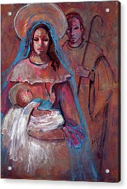 Mother Mary With Joseph And Jesus Baby Acrylic Print by Mary DuCharme