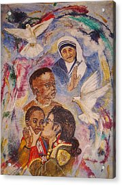 Mother Theresa And Michael Jackson For The Lost Children Acrylic Print by Jocelyne Beatrice Ruchonnet
