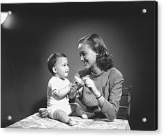 Mother With Baby (6-9 Months) Playing At Home, (b&w) Acrylic Print by George Marks