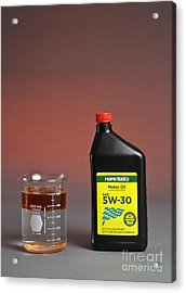 Motor Oil Dissolution Test Acrylic Print by Photo Researchers, Inc.