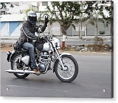 Motorbiker Peace Acrylic Print by Kantilal Patel
