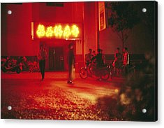 Motorcyclists Outside A Karaoke Bar Acrylic Print by Justin Guariglia