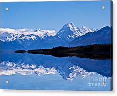 Mount Cook With Reflection Acrylic Print by Avalon Fine Art Photography
