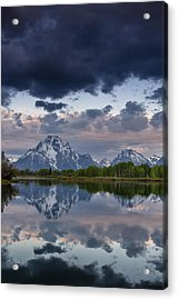 Mount Moran Under Black Cloud Acrylic Print by Greg Nyquist