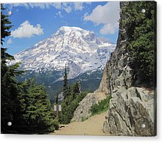 Mount Rainier From The Pinnacle Peak Trail Acrylic Print by Karen Molenaar Terrell