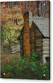 Mountain Cabin Acrylic Print by Linda Eades Blackburn