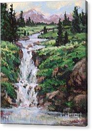 Mountain Cascade Acrylic Print by W  Scott Fenton