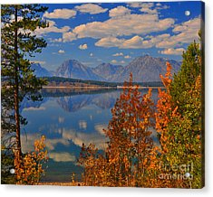 Mountain Reflections In Autumn Grand Tetons Acrylic Print by Nature Scapes Fine Art