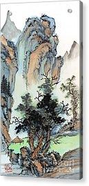 Acrylic Print featuring the painting Mountain Retreat by Yolanda Koh