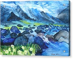 Mountain River Acrylic Print by Anna  Henderson