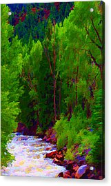Acrylic Print featuring the digital art Mountain Stream by Brian Davis