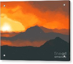 Mountain Sunset Acrylic Print by Pixel  Chimp